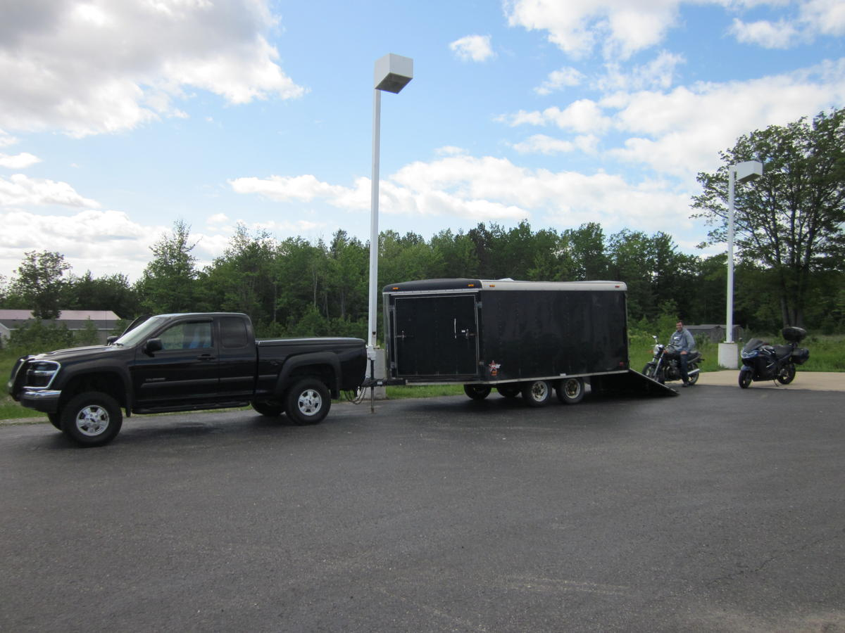 Two bikes in it puts it pretty close to the truck s maximum rated capacity but the truck doesn t have any problems towing it not going to win a drag race